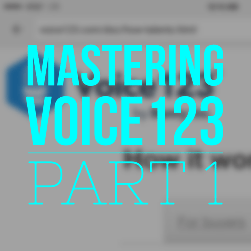 In this first of two classes on how to join, profile yourself, gain auditions and book work on Voice123.com, we look at the construction of Voice123, what it is and how it works, how to join as a member, how to fill out a formidable profile (even if you're just getting started) and how to populate your demo portfolio.