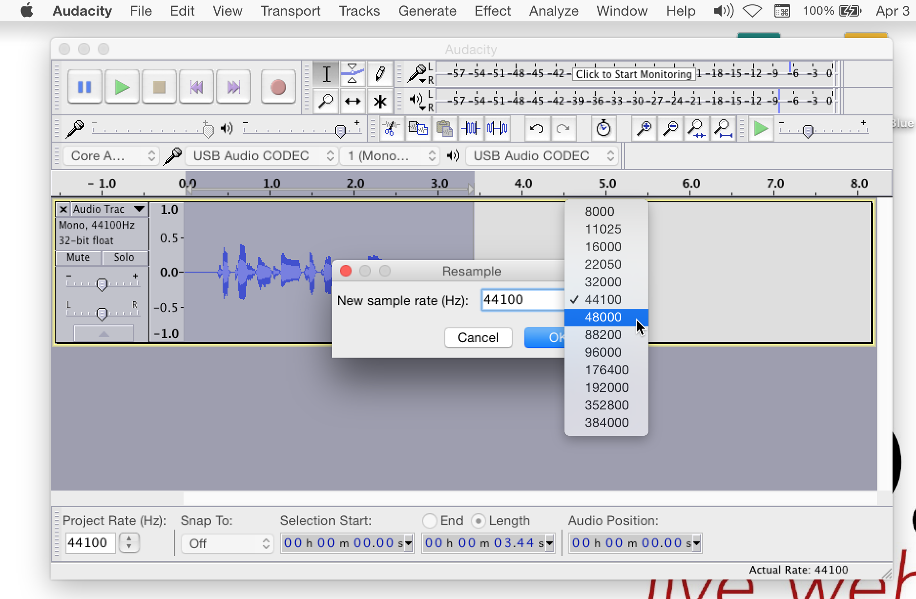 How To Change Audacity's Sampling Rate to 48,000 Hz | vo2gogo.com